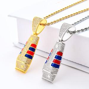Hip Hop Jewellry Rasierer Anhänger Halskette Für Männer Neue Fahsion Zirkonia Eis Out Halsketten Frauen Marke Schmuck Vergoldete Halsketten
