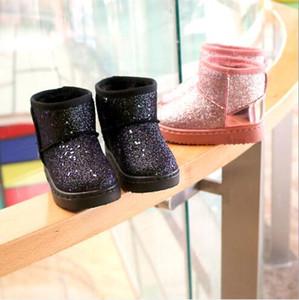 Boots Winter new children's black snow boots plus velvet lightweight wear-resistant non-slip warm sequins children's shoes