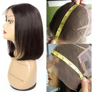 KISSHAIR courte perruque Bob 13x6 13x4 perruques de cheveux humains avant de dentelle 6 8 10 12 14 pouces cheveux remy indiens du Brésil Malaisie