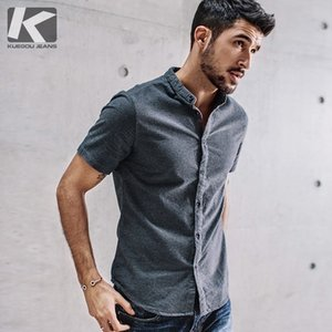 Kuegou 2019 Summer 100% Cotton Clear Shirt Men Dress Casual Slim Fit Shortcut For Male Brand Shirt Plus Size Clothing 5859 Y19071301