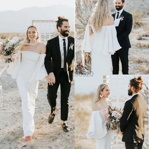 Beach Sheath Wedding Dresses 2020 Off Shoulder Back Split Garden Country Bridal Gowns vestidos de novia Customized Cheap