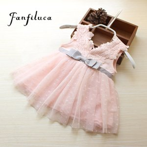 Fanfiluca Very Beautiful Bow Baby Girl Dress Cotton Soft Lace Newborn Body Suit Baby Clothes High Quality T200706