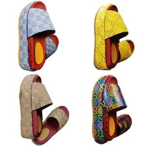 2020 Women Designer Platform Sandal Slides Shoes Embroidery printed surface Fashion Platform Slipper 19 Colors Beach Sandals