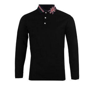 New British Style Drei Buckle Hemd Kreative Markierungsfahnen-Revers Mode Einfaches Business Casual Langarm-T-Shirt