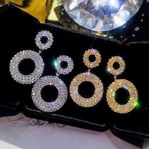 S925 Ago in argento Europa e America esageri orecchini pendenti geometrici tondi Gioielli donna con diamanti selvatici con personalità