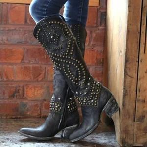 Kadın Boots Retro Perçin Orta Buzağı Boots El yapımı deri Uzun Patik Kadınlar Yüksek Kovboy Çizmesi Moda Günlük Ayakkabılar #D T200425
