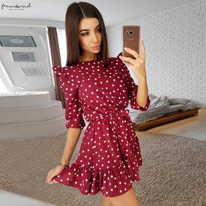 Fashion Ruffle Trim Sashes Women Dress Autumn 3 4 Sleeves Round Neck Dot Print Casual Dress Girls Sweet A Line Mini Dresses