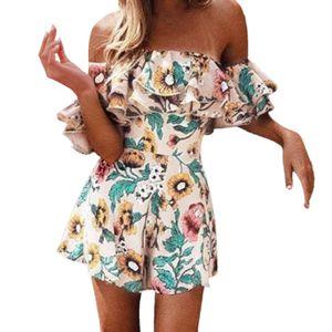 Srogem Боди с цветочным принтом Сексуальные комбинезоны с открытыми плечами Женщины Комбинезон с блестками Комбинезоны Macacao Feminino Combishort Femme Ete 5
