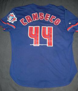 Ucuz Retro JOSE CANSECO # 44 Russell TORONTO Jersey İmzalı mavi Erkek Dikişli Beyzbol formaları