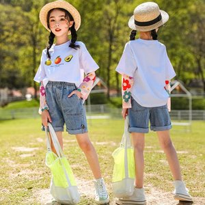 Teens Fashion Clothes Set Fake Two-Piece Suit Tshirt Top and Denim Shorts Summer Cool Clothes for Children Teens 4 6 8 11 13YrsuIlQ#