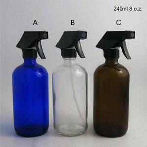 2 X 8 Oz Grande recarregáveis 240ml Âmbar azul claro de vidro Garrafa de Spray Container cap gatilho pulverizador para a limpeza de óleo essencial