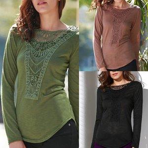 2017 mujeres camiseta larga ocasional señoras de la manga del O-Cuello suelta la gasa del cordón tee Tops de la venta caliente Verde S-XL