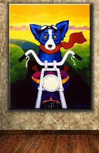 Large High Quality Handpainted George Rodrigue Animal Blue Dog Riding A Motorcycle Art Oil Painting Home Art Deco On Canvas Frame Options
