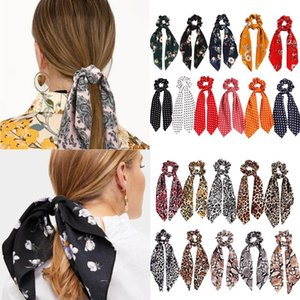 Leopard Snake Floral Dot Streamers Scrunchies Women Hair Scarf Elastic Bow Hair Rope Ribbon Band Girls Yoga Accessories