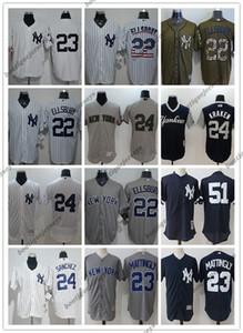 custom Men women youth NY New YorkYankees Jersey #22 Jacoby Ellsbury 23 Don Mattingly 51 Bernie Williams White Baseball Jerseys