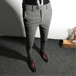Mens Dress Pants Men Solid Color Slim Fit Male Social Business Casual Skinny Suit Trousers Asian Size 28-34