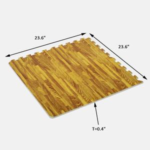 Soozier 72 pés quadrados de bloqueio Tapete EVA Foam Tile Veio de Madeira Gym Exercício