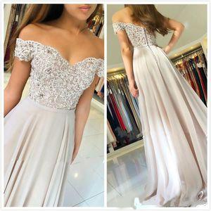Evening Dresses V Neck Offer The Shoulder Glitter crystals Bodice A Line Chiffon Elegant Custom Made Formla Prom Party Bridal Dresses