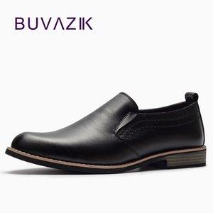BUVAZIK Marka Deri Özlü Erkekler İş Elbise Pointy Siyah Ayakkabı Nefes Örgün Düğün Temel ayakkabı erkekler