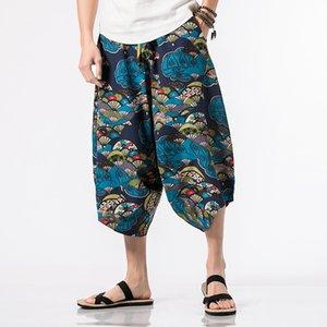 Erkekler için Batik Tay Harem Pantolon Boho Festivali Hippy Önlük Bel Fil Yoga Pantolon Rayon Bırak Kasık Paraşüt pantolon