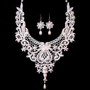 Korean Braut-Party-Zubehör Spitze-Halskette und Ohrringe Schmuck-Set vorzügliche Perle Anhänger Spitze Halskette