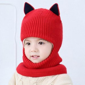 Bib one knitted hat baby hat winter plus velvet thick windproof cold wool cap 2-5 years face child