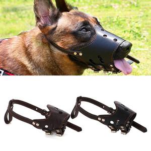 Ajustable perros grandes boca suave y transpirable bozales Formación Máscara cuero de la PU del animal doméstico hocico del perro de la corteza anti Bite Chew Seguridad