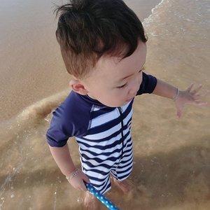 Полосатый детский быстросохнущий теплый мальчик baby one-piece теплый купальник солнцезащитный крем hot spring swimsuit