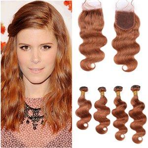 # 30 auburn moyen de cheveux humains Fermeture dentelle avec Virgin Bundles vague de corps péruvien cheveux auburn Tissages 4 Bundle Offres avec fermeture 4x4