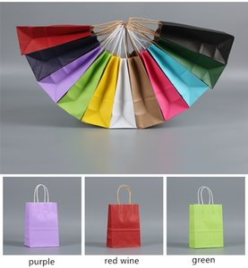 25*15*8cm Colorful Hand Bag Craft Paper Gift Bag with Handle Shopping Bags Kraft Paper Festival Gift Packaging Bag in stock A06