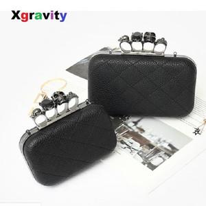 Xgravity Licthi Pele Sexy Ladies Clutch Bag Designer de Moda Cadeia de Ombro Sacos de Mulheres Retro Anel de Crânio Mini Partido Lady Bag A006 J190630