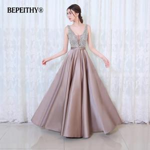 BEPEITHY V-образным вырезом бусины лиф открытой спиной длинное вечернее платье партии элегантный Vestido де феста быстрая доставка Пром платья