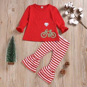 Vêtements de bébé de Noël Filles Costumes Automne sourire vélo broderie manches longues T-shirt + Stripe Flare Pantalons 2pcs / set Les pyjamas d'enfant M706