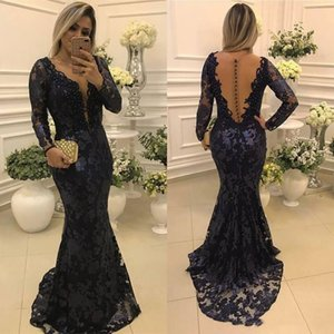 2020 Sexy Mermaid Long Prom Dresses Vintage with Lace Sheer Long Sleeves Formal Evening Party Gowns