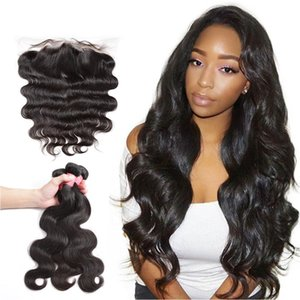 Poker Face Body Wave 16-24 Inch Brazilian Hair Weave 3 Bundles With Lace Frontal Closure Non Remy Human Hair Extension