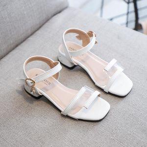 Fashion Summer Patent Leather Childrens Bowtie Pearl Rhinestone Shoes Sandals Girls Beach Shoes 4 5 6 7 8 9 10 11 12 13 YearsSraU#
