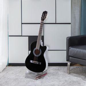 "Diseño recortado de guitarra acústica eléctrica de 38 ""con estuche para guitarra, correa, sintonizador negro"