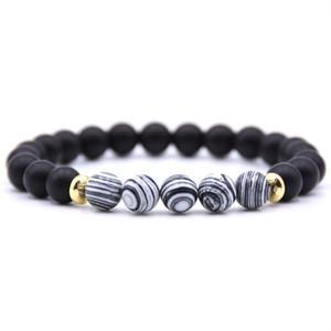 Nouveau design Top Vente main colorée 8MM perles naturelles Blanc Agate Noir Lava Pierre Bracelet à vendre