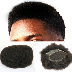 Bisoñes postizo brasileño de Remy del pelo humano natural de los hombres afro Curl hombres peluca Q6 Base postizo de 8x10 pulgadas