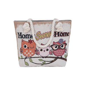 Fashion Women Beach Bag Casual Handbag Canvas Shopping Bag Ladies Large Capacity Shoulder Bag Cute Owl Printing Messenger