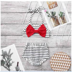 Bebek şerit bikini 2 adet set şerit bebek kırmızı büyük yay kelebek toddler halter mahsul çocuklar 2019 mayo beachwear