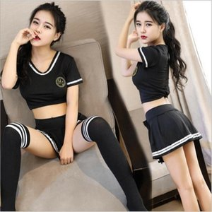 여성의 섹시한 여고생 교복 의상 코스프레 치어 리더 유니폼 장난 꾸러기 격자 무늬 스커트 란제리 세트