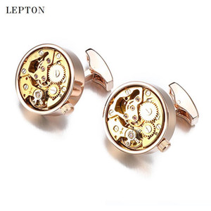 Hot Functional Watch Movement Cufflinks for Mens Lepton Stainless Steel Steampunk Gear Watch Mechanism Cuff links With Gift Box SH190925