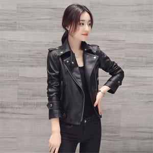 LanLoJer Zipper Design Motorcycle Slim PU Black Jacket Spring Autumn Faux Soft Leather Jacket de manga larga rosa Biker Coat