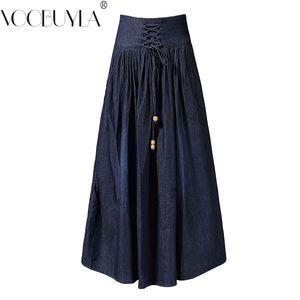 Otoño Invierno Denim Mujer Faldas Vintage Cintura Alta Plisado Maxi Jeans Falda Más El Tamaño S-6xl Saia Femininas C19041602