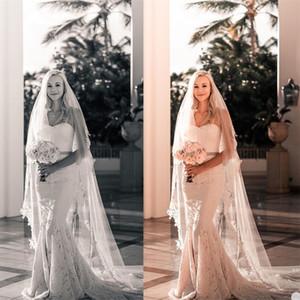 Sexy Wedding Dresses Spaghetti Strap Sleeveless Waistless Full Appliqued Lace Ruffle Bridal Dress Custom Made Sweep Train Vestidos De Novia