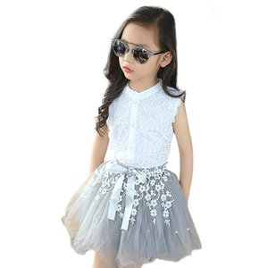 Children Clothing 2019 Summer Toddler Girls Lace Flower 2pcs Outfits Kids Tracksuit For Girls Teenage 4 6 8 10 Sport Suit