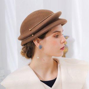 kış Kadının% 100 Saf Yün Silindir şapka Kadın kişilik Kadının şapkası sıkma Kadınlar Moda ayarlanabilir Zinciri için Berets Keçe
