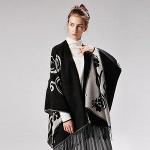 Moda Marca Blanket Designer Scarf por Mulheres 130x150cm Sherpa lançar cobertor quente de inverno Grosso Scarf Mandala Cobertores Split Art