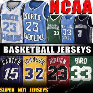 North Carolina tallona Università catrame 23 Michael Jersey MJ Vince Allen Iverson Carter maglie Larry Bird Johnson Earvin Michigan Basketball